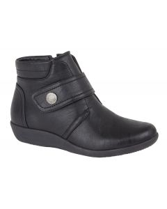 X Wide Ee Fit Touch Fasten/Inside Zip Ankle Boot