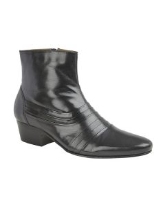 Pleated Cuban Heel Ankle Boot