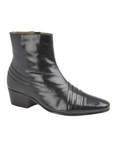 Criss Cross Pleated Cuban Heel Ankle Boot